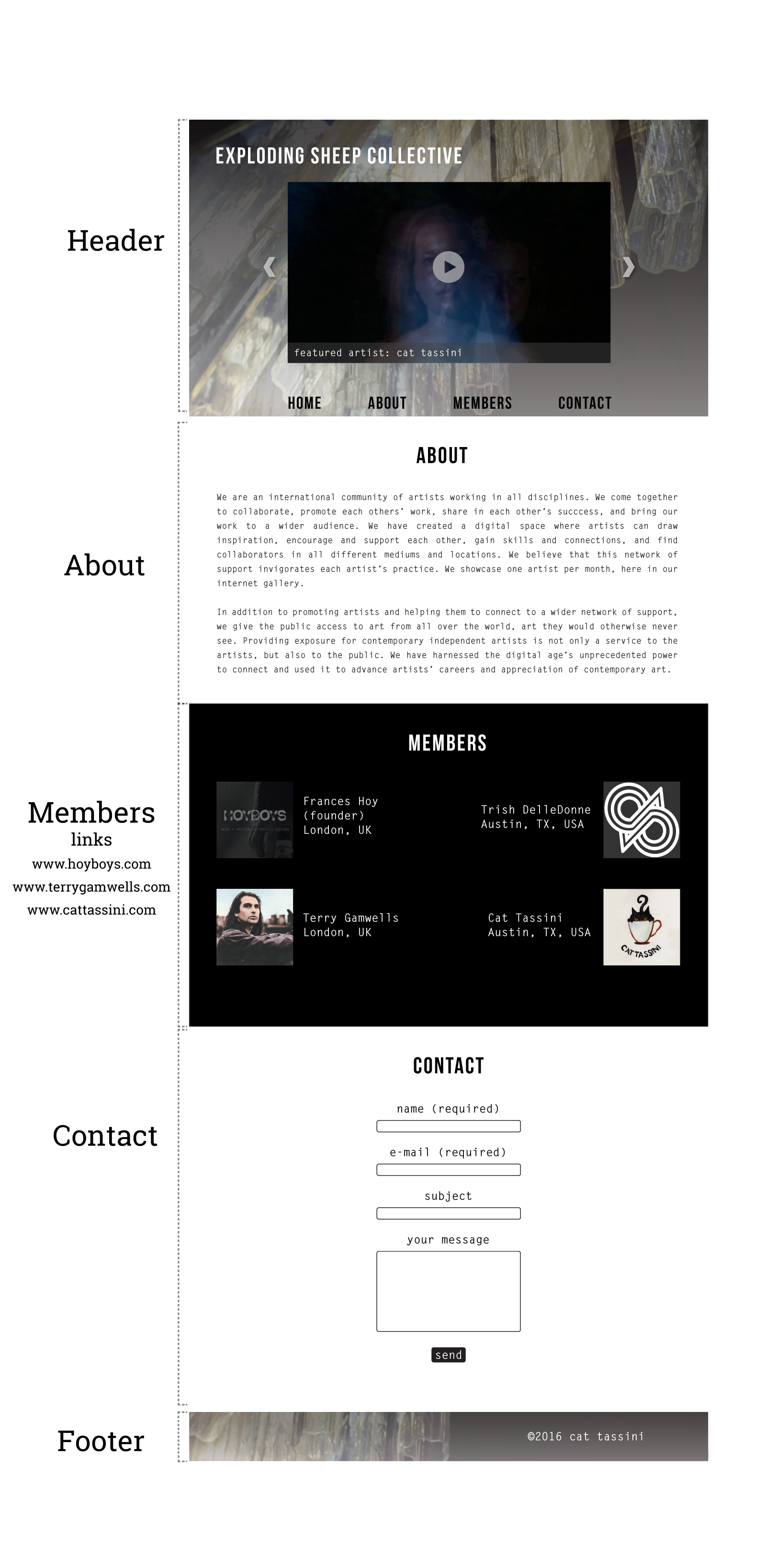Exploding Sheep Home Page Mock Up