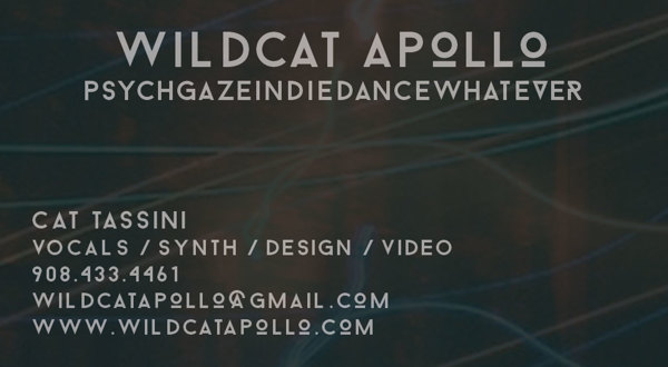 Business card for Austin-based band Wildcat Apollo, designed in Photoshop.